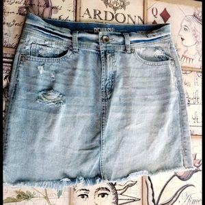 Rewash Light Wash Stretchy Distressed Jean Skirt